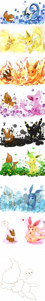Tags: Anime, Pixiv Id 2859271, Pokémon, Espeon, Eevee, Vaporeon, Glaceon, Jolteon, Leafeon, Flareon, Sylveon, Umbreon, Eeveelution