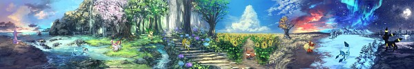 Tags: Anime, Pixiv Id 1922055, Pokémon, Espeon, Eevee, Vaporeon, Sylveon, Glaceon, Jolteon, Leafeon, Flareon, Umbreon, Aurora Borealis