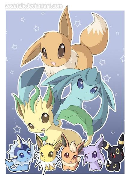 Tags: Anime, Gogetajr, Pokémon, Leafeon, Flareon, Umbreon, Espeon, Eevee, Vaporeon, Glaceon, Jolteon, deviantART, Eeveelution