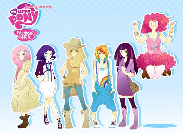 Tags: Anime, Aquafeles, My Little Pony, Applejack, Fluttershy, Twilight Sparkle, Rarity, Rainbow Dash, Pinkie Pie, Pixiv, Fanart From Pixiv, Fanart, Elements of Harmony