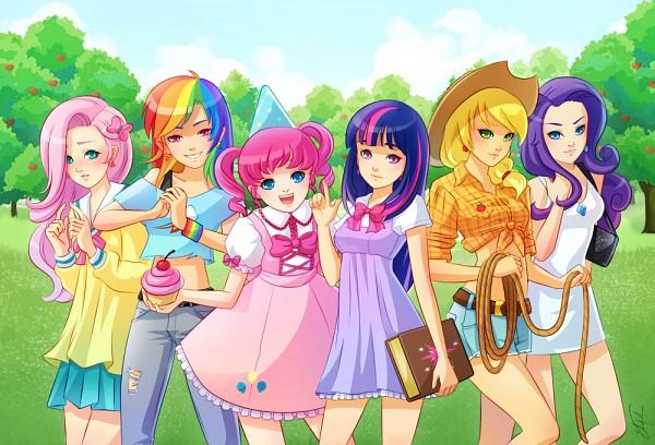 Tags: Anime, X-chan-, My Little Pony, Rainbow Dash, Pinkie Pie, Applejack, Fluttershy, Twilight Sparkle, Rarity, deviantART, Fanart, Fanart From DeviantART, Elements of Harmony