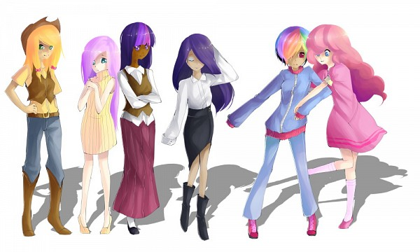 Tags: Anime, Chiiruno, My Little Pony, Fluttershy, Twilight Sparkle, Rarity, Rainbow Dash, Pinkie Pie, Applejack, Fanart From DeviantART, deviantART, Fanart, PNG Conversion