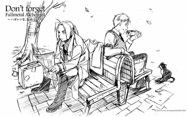 Tags: Anime, Arakawa Hiromu, SQUARE ENIX, Fullmetal Alchemist, Fullmetal Alchemist Brotherhood, Alphonse Elric, Edward Elric, Newspaper, Paper Bag, Briefcase, Suitcase, Sandwich, Wallpaper
