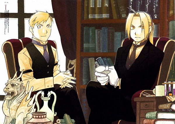 Tags: Anime, Arakawa Hiromu, Fullmetal Alchemist, Alphonse Elric, Edward Elric, Test Tube, Pocket Watch, Statue, Vase, Official Art, Elric Brothers