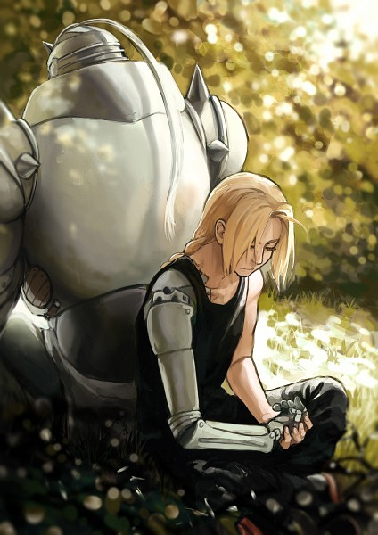 Tags: Anime, Pixiv Id 4680136, Fullmetal Alchemist, Edward Elric, Alphonse Elric, Mechanical Arm, Prosthesis, Automail, Mobile Wallpaper, Elric Brothers