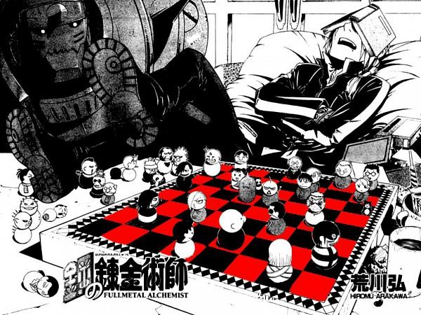 Tags: Anime, Arakawa Hiromu, Fullmetal Alchemist, Edward Elric, Alphonse Elric, Chess, Artist Request, Wallpaper, Elric Brothers