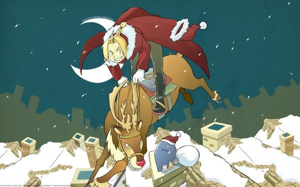 Tags: Anime, Arakawa Hiromu, Fullmetal Alchemist, Alphonse Elric, Edward Elric, Deer, 2560x1600 Wallpaper, Reindeer, Wallpaper, HD Wallpaper, Elric Brothers