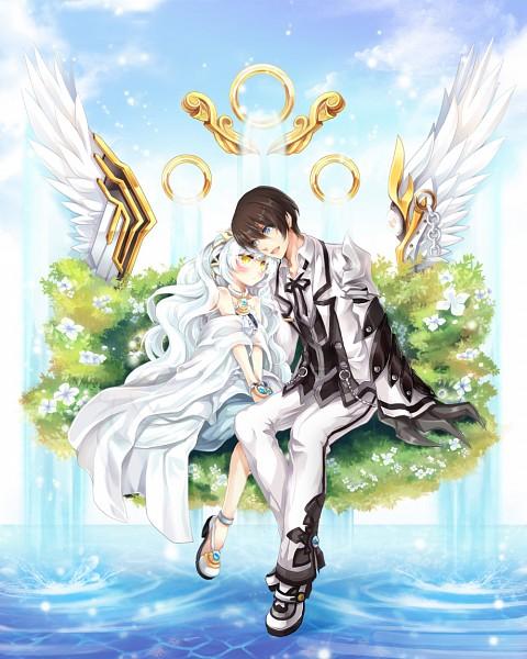 Tags: Anime, Pixiv Id 1114099, Elsword, Raven (Elsword), Blade Master (Raven), Eve (Elsword), Code: Empress, Mechanical Arm, Pixiv, Fanart, Fanart From Pixiv