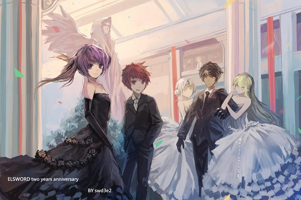 Tags: Anime, swd3e2, Elsword, Rena (Elsword), Eve (Elsword), Chung (Elsword), Raven (Elsword), Aisha (Elsword), Party, Pixiv, Fanart, Fanart From Pixiv