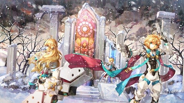 Tags: Anime, Agatsuma Rochan, Elsword, Elemental Master (Aisha), Deadly Chaser (Chung), Aisha (Elsword), Chung (Elsword), Tactical Trooper (Chung), Iron Paladin (Chung), Rocket Launcher, Stained Glass, Church, Facebook Cover