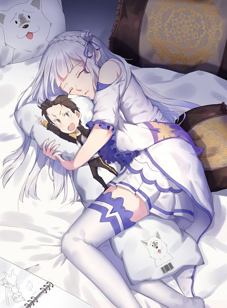 Tags: Anime, Yuwan 2333, Re:Zero Kara Hajimeru Isekai Seikatsu, Natsuki Subaru, Emilia (Re:Zero), Dakimakura (Object), Fanart