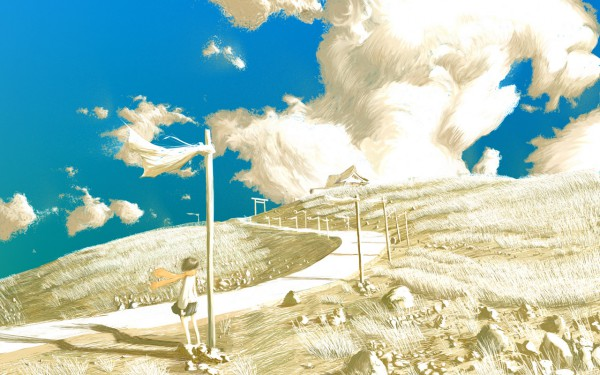 Tags: Anime, Emukami, Railroad Tracks, Railroad Crossing, Pixiv, Original, Wallpaper