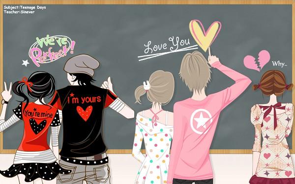 Tags: Anime, Enakei, Broken Heart, Chalkboard, Wallpaper, Vector