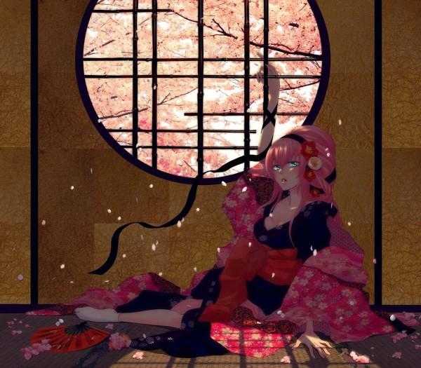 Tags: Anime, Yunomi, VOCALOID, Megurine Luka, Round Window, Tatami, Enbizaka no Shitateya, Fanart