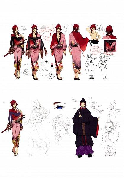 Tags: Anime, Yomi (Pixiv390297), Rejet, Ken ga Kimi Wafuu Denki Emaki, Ken ga Kimi, Enishi (Ken ga Kimi), Official Art, Sketch, Scan