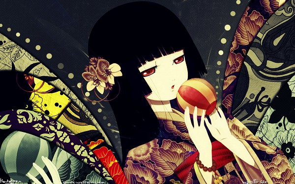 Tags: Anime, Jigoku Shoujo, Enma Ai, Temari Ball, Wallpaper