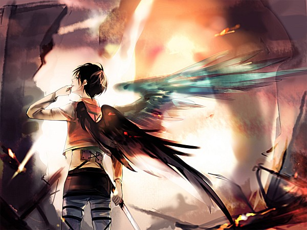 Tags: Anime, Zao Chuan Ya, Attack on Titan, Eren Jaeger, Explosion, Finger In Mouth, Pixiv, Fanart, Fanart From Pixiv, Eren Yeager