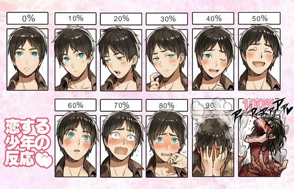 Tags: Anime, Sine, Attack on Titan, Titan (Shingeki no Kyojin), Eren Jaeger, Rogue Titan, Blushing Faces Meme, Horny-meter, Pixiv, Fanart, Fanart From Pixiv, Eren Yeager