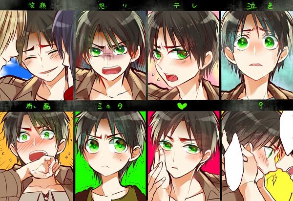 Tags: Anime, Rikoko (@SHIMAPAN), Attack on Titan, Eren Jaeger, Levi Ackerman, Mikasa Ackerman, Armin Arlert, Emoticons, Teenager, PNG Conversion, Pixiv, Fanart, Eren Yeager
