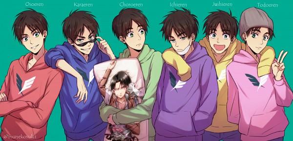 Tags: Anime, Stellina, Attack on Titan, Eren Jaeger, Levi Ackerman, Matsuno Osomatsu (Cosplay), Matsuno Todomatsu (Cosplay), Matsuno Ichimatsu (Cosplay), Dakimakura (Object), Matsuno Choromatsu (Cosplay), Osomatsu-kun (Parody), Matsuno Juushimatsu (Cosplay), Aqua Background, Eren Yeager