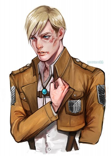 Tags: Anime, Mstrmagnolia, Attack on Titan, Erwin Smith, Bolo Tie, Medal, Badge, Twitter, Fanart, Mobile Wallpaper, Revision