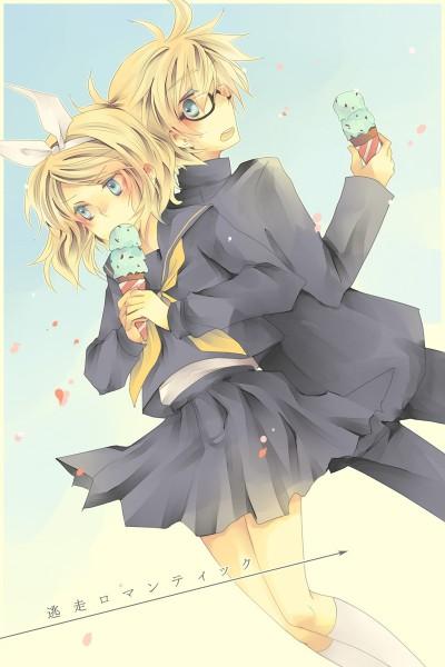 Tags: Anime, Jikei, VOCALOID, Kagamine Len, Kagamine Rin, Pixiv, Mobile Wallpaper, Escape Romantic