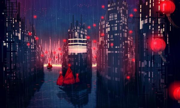 Tags: Anime, Ettelle, Skyscraper, Boat, Original, Wallpaper