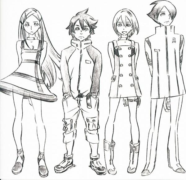 Tags: Anime, Eureka Seven, Renton Thurston, Anemone (Eureka Seven), Dominic Sorel, Eureka, Sketch, Artist Request