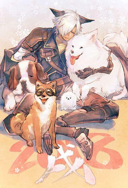 Tags: Anime, Pixiv Id 115229, Granblue Fantasy, Eustace (Granblue Fantasy), Shiba Inu, Pomeranian, Samoyed, Hugging Animal, Pixiv, Happy 2018