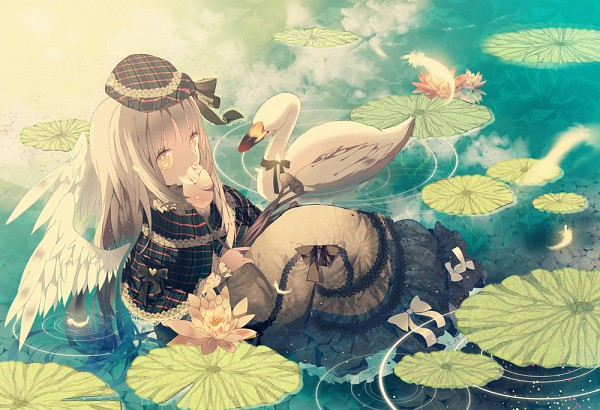 Tags: Anime, Evemace, Swan, Sitting In Water, Pixiv, Original