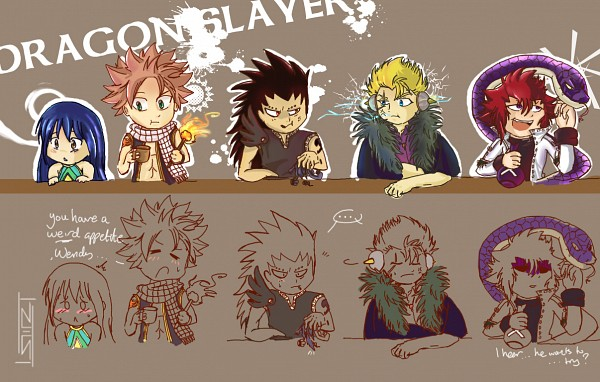Tags: Anime, FAIRY TAIL, Kinana, Gajeel Redfox, Cobra (FAIRY TAIL), Natsu Dragneel, Laxus Dreyar, Wendy Marvell, Torch, Scar Across Eye, Elbow On Table, Fanart, Dragon Slayers