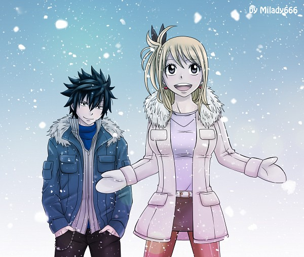 Tags: Anime, Milady666, FAIRY TAIL, Lucy Heartfilia, Gray Fullbuster, Mittens