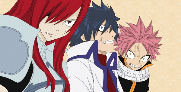 Tags: Anime, FAIRY TAIL, Erza Scarlet, Gray Fullbuster, Natsu Dragneel, Facebook Cover, Colorization