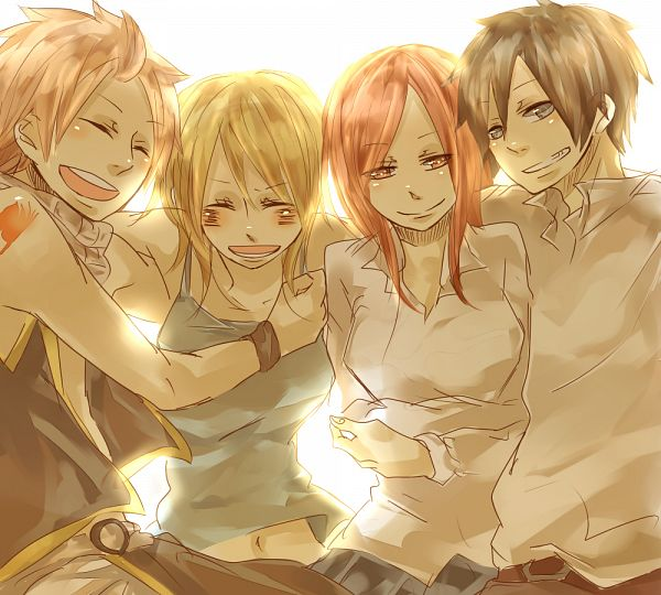 Tags: Anime, Pixiv Id 2636953, FAIRY TAIL, Erza Scarlet, Lucy Heartfilia, Gray Fullbuster, Natsu Dragneel, Group Hug, Fanart, Fanart From Pixiv, PNG Conversion, Pixiv