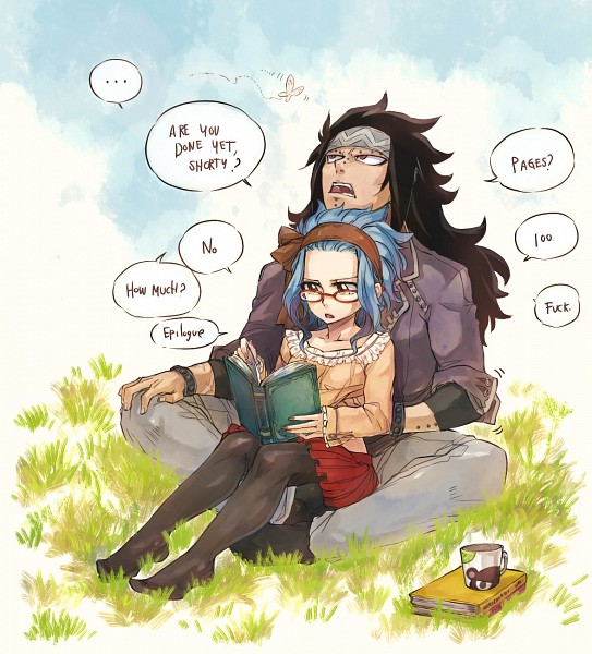 Tags: Anime, Rusky-boz, FAIRY TAIL, Gajeel Redfox, Levy McGarden, Pantherlily, Fanart, Fanart From Pixiv, Pixiv, Gajevy