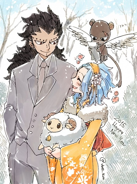 Tags: Anime, Rusky-boz, FAIRY TAIL, Gajeel Redfox, Levy McGarden, Pantherlily, Happy 2015, Tumblr, PNG Conversion, Fanart, Mobile Wallpaper, Gajevy