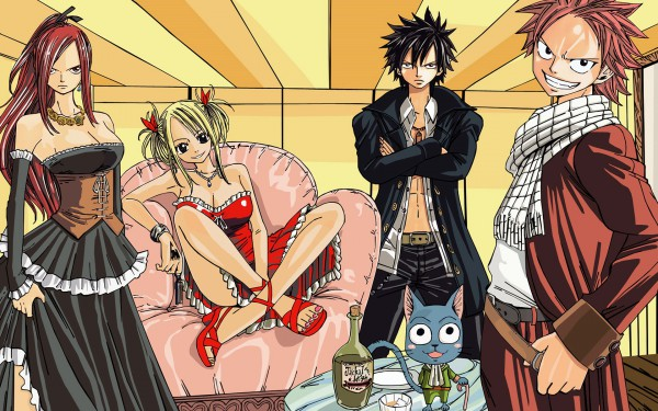 Tags: Anime, FAIRY TAIL, Gray Fullbuster, Natsu Dragneel, Erza Scarlet, Lucy Heartfilia, Wallpaper
