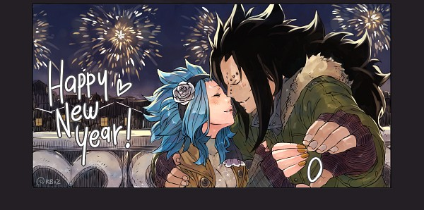 Tags: Anime, Rusky-boz, FAIRY TAIL, Gajeel Redfox, Levy McGarden, Fanart, Facebook Cover, Happy 2017, Tumblr, PNG Conversion, Gajevy