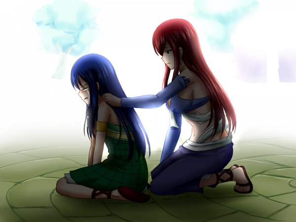 Tags: Anime, Adricarra, FAIRY TAIL, Wendy Marvell, Erza Scarlet, Wallpaper, Fanart