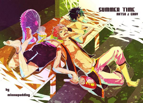 Tags: Anime, Minnowpudding, FAIRY TAIL, Gray Fullbuster, Natsu Dragneel, Newspaper, Text: Summer Greetings, Fanart, Pixiv, Gratsu