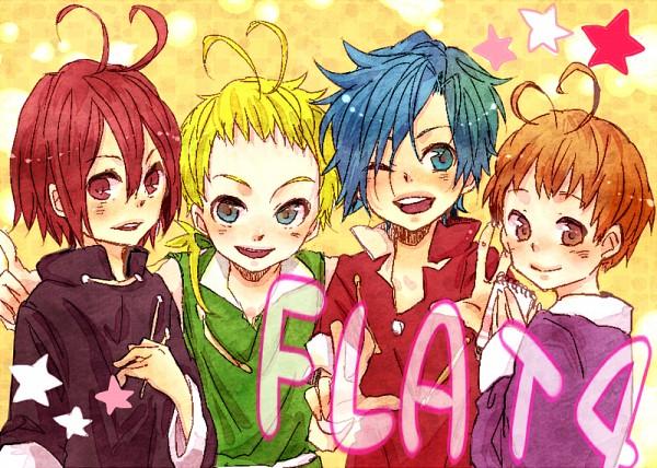 Tags: Anime, Bino, Ojamajo DoReMi, Fujio (Ojamajo DoReMi), Tooru (Ojamajo DoReMi), Leon (Ojamajo DoReMi), Akatsuki (Ojamajo DoReMi), Text: Character Group Name, Pixiv, Fanart, FLAT 4