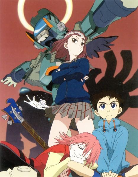 Tags: Anime, Gainax, FLCL, Haruhara Haruko, Takkun, Canti, Samejima Mamimi, Nandaba Naota, Official Art, Scan