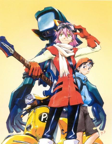 Tags: Anime, Yoshiyuki Sadamoto, FLCL, Carmine (Artbook), Nandaba Naota, Haruhara Haruko, Canti, Vespa, Bass Guitar, Official Art