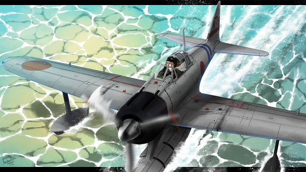 Tags: Anime, Pixiv Id 1169637, Kantai Collection, Fairy (Kantai Collection), Pilot Uniform, Aviator Hat, Warplane, Pixiv, Wallpaper, HD Wallpaper, Fanart, Fanart From Pixiv