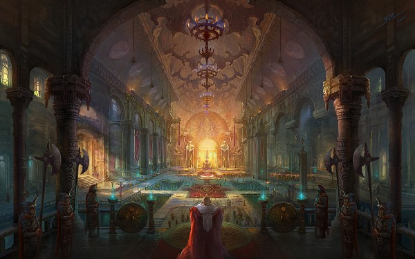 Tags: Anime, Fan Ming, King, Throne, Candelabrum, Fountain, Column, Banner