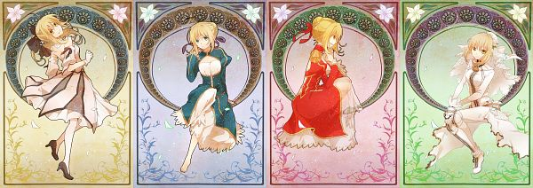 Tags: Anime, Yamabukiiro, Fate/unlimited codes, Fate/EXTRA, Fate/EXTRA CCC, Saber Lily, Saber Bride, Saber (Fate/stay night), Saber (Fate/EXTRA), Art Nouveau, Fanart, Twitter Header