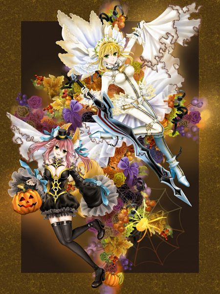 Tags: Anime, Manbosakuranbo, Fate/EXTRA, Fate/EXTRA CCC, Caster (Fate/EXTRA), Saber (Fate/EXTRA), Saber Bride, Aestus Estus, Fanart