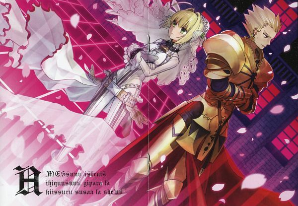 Tags: Anime, Wada Aruko, TYPE-MOON, Fate/EXTRA, Fate/EXTRA CCC, Saber Bride, Gilgamesh, Saber (Fate/EXTRA), Official Art, Scan