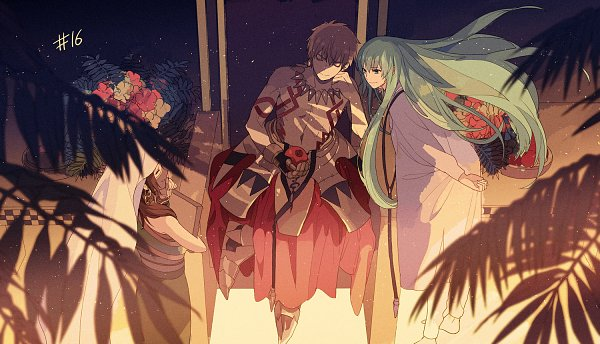 Tags: Anime, Okazaki Oka, Fate/Grand Order: Zettai Majuu Sensen Babylonia, Fate/Grand Order, Lancer (Fate/strange fake), Gilgamesh, Siduri (Fate/Grand Order), Caster (Gilgamesh), Motion Blur, Fern, Official Art, Twitter