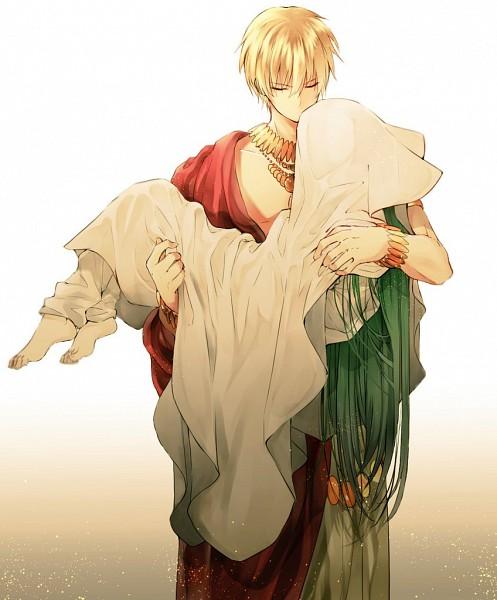 Tags: Anime, Pixiv Id 15239679, Fate/Grand Order, Gilgamesh, Lancer (Fate/strange fake), Covered Face, Gold (Metal)
